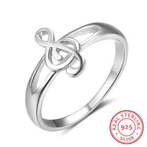 925 Sterling Silver Rings For Women Musical Notes Pattern Silver Rings For Music Lovers Fashion Jewelry Gifts for Her(RI102823)