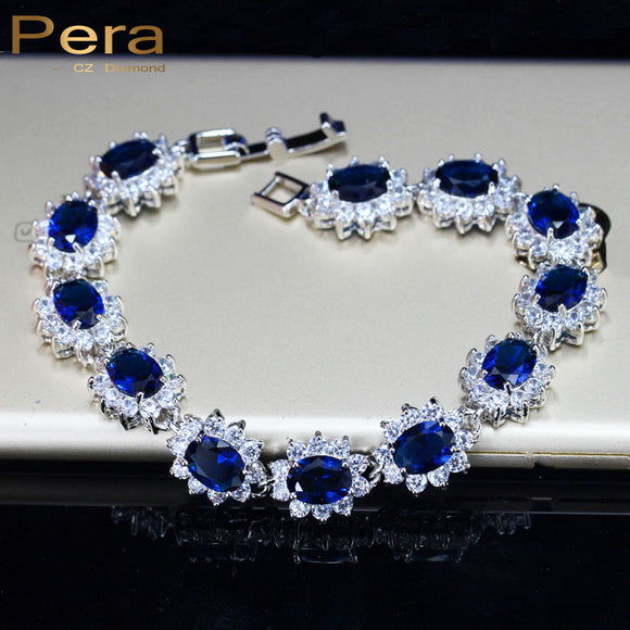Pera Vintage Royal Jewelry Sterling 925 Silver Oval Blue Cubic Zirconia Link & Chain Bracelet For Women Christmas Gift B014