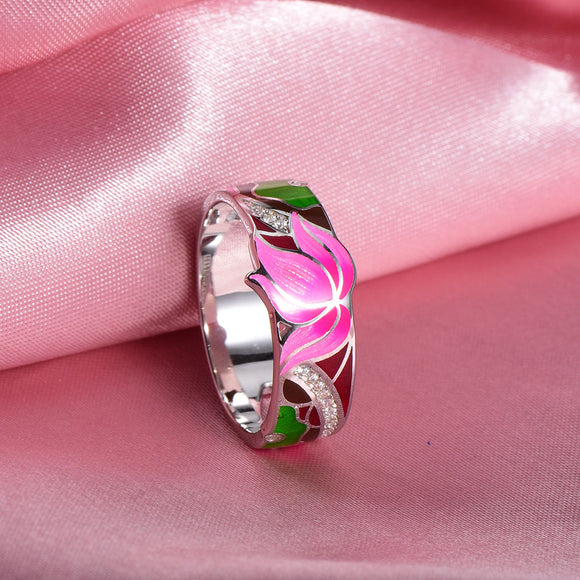 RainMarch Bohemian Enamel Lotus Flower Silver Ring For Women 925 Sterling Silver Ring Engagement Party Handmade Jewelry