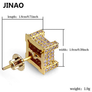 JINAO Hip Hop New Fashion Iced Out Bling Stud Earrings Gold Color Micro Pave Cubic Zircon Square Stud Earring For Men & Women