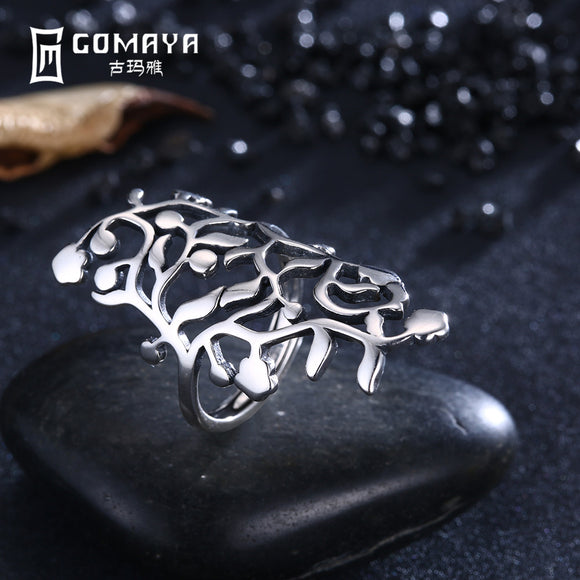 GOMAYA Hollow Pattern Vintage Rings 925 Sterling Silver Unique Aneis de Prata Fine Jewelry Gift for Women Adjustable Openwork