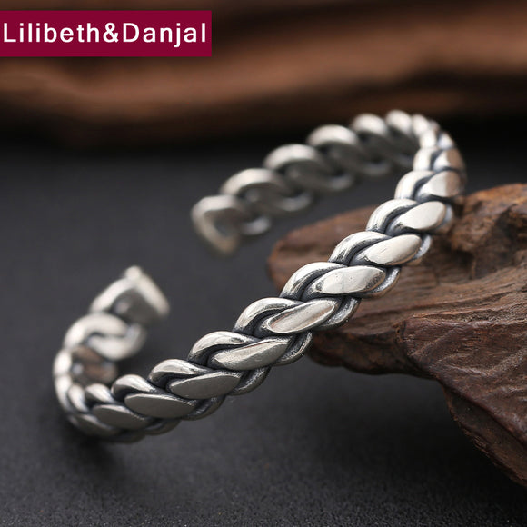 2017 New 925 Sterling Silver Bangle Men Jewelry Weave Rope Opening Indian Bracelet Bangle Women Gift Fine Jewelry loom band B9