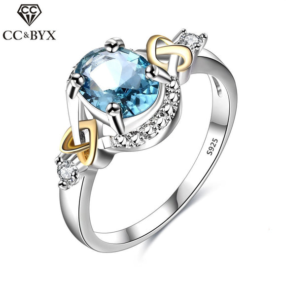 CC Jewelry 925 Sterling Silver Jewelry Fashion Oval Sky Blue CZ Ring For Women Chic Accessories Engagement Gift Rings CC542