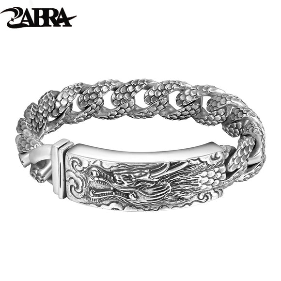 ZABRA Genuine 925 Sterling Silver Dragon Curb Chain Men Bracelet Vintage Punk Thai Sliver Handcrafted Bracelets For Men Jewelry