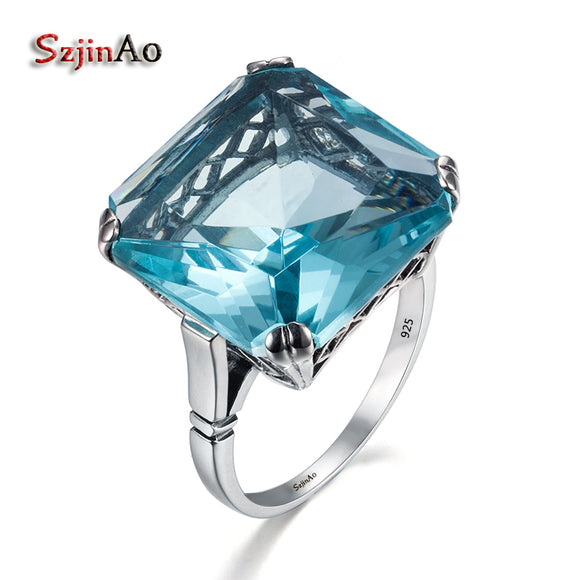 Szjinao Wholesale High quality Jewelry Vintage Solid 925 Sterling Silver Rings for Women Square Blue Aquamarine Big gift