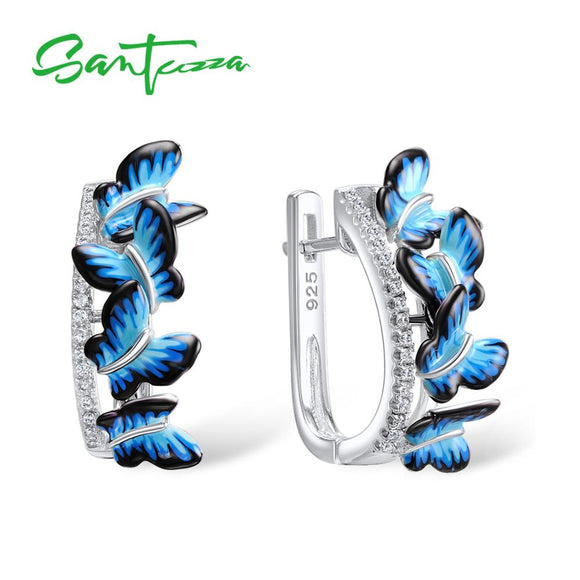 SANTUZZA Silver Earrings For Women 925 Sterling Silver Stud Butterfly Earrings Silver 925 Cubic Zirconia brincos Jewelry Enamel
