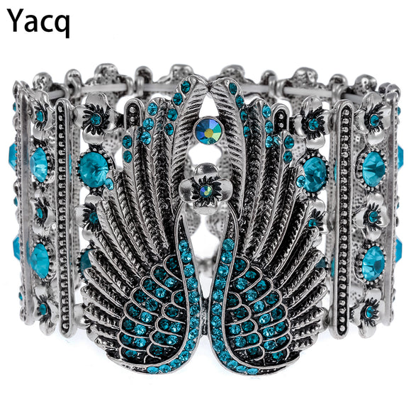 YACQ Guardian Angel Wings Stretch Cuff Bracelet for Women Biker Crystal Punk Jewelry Gift Antique Silver Color Dropshipping D05