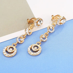 Gold Color Rhinestone Hollow Round Earrings Long Statement Ear Clip On Earrings No Pierced Ear Cuff Accessories Joyeria Mujer