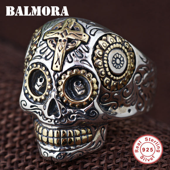 BALMORA 100% Real 925 Sterling Silver Vintage Rings for Women Men Lovers Punk Fashion Cool Jewelry Skull Ring Bijoux SY20540