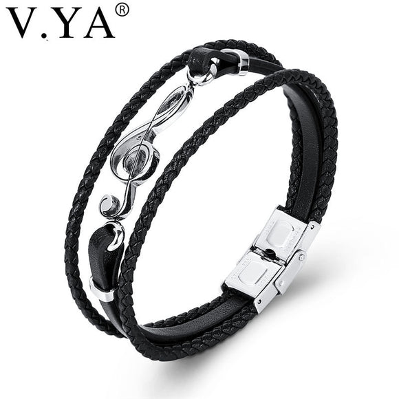 V.YA Drop Shipping Stainless Steel Musical Notes Women Men Leather Bracelets Punk Rope Chain Music Fans Unique Bangles For Male
