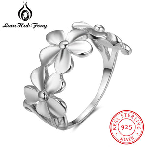 100% 925 Sterling Silver Flower Rings For Lovers Women Romantic Daisy Ring Valentine's Day Rings Trendy Jewelry(Lam Hub Fong)