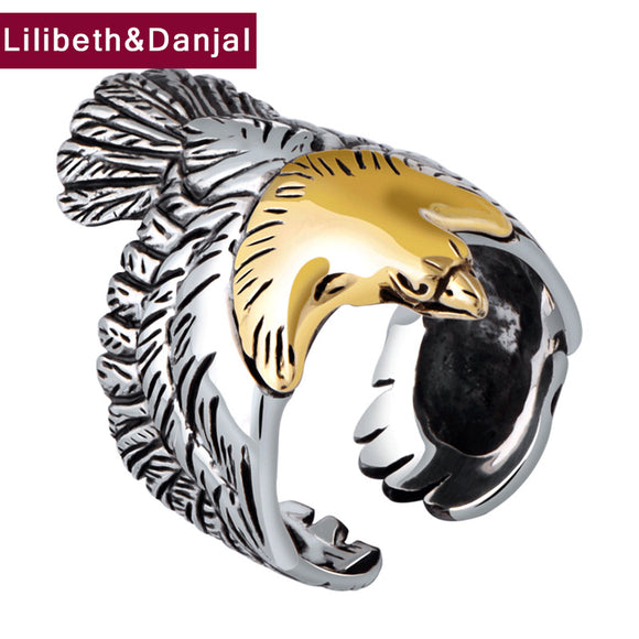 Thai silver Men Big Ring 925 Sterling Silver Fine jewelry Punk Eagle Feathers Brand Fashion Adjustable Christmas Gift 2018 R3