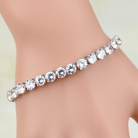 Classic 925 Sterling Silver Bridal Jewelry Round White Cubic Zirconia Charm Bracelet Chain Link Bracelet For Women Wedding