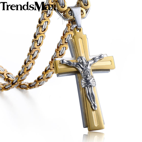 Trendsmax Men's Necklace Cross Jesus Pendant Stainless Steel Byzantine Chain Gold Silver Necklace For Men KKP503
