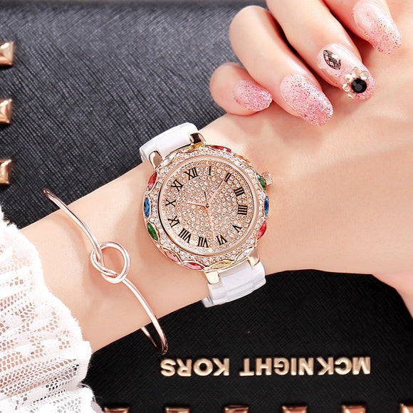 2018 Fashion Brand Ceramic Women Bracelets Watches Luxury Lady Colorful Rhinestone Wristwatch Full Diamond Crystal Dress Watch