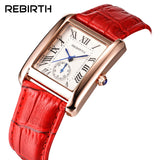 2018 REBIRTH Luxury New Women Quartz Watch Dress Fashion Casual Women Watches Roman Numerals Bracelets Square lady Watches