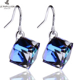 LE PAPILLION Brand Fine Jewelry Women Earrings Made With Swarovski Crystal Drop Earring Square Cube Dangle Earring Lady Brincos