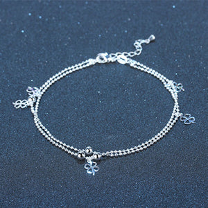TJP Charm Female Silver Anklets Women Wedding Party Jewelry Fashion 925 Sterling Silver Bracelets For Girl Bride Lover Gift