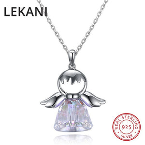 LEKANI Cute 925 Sterling Silver Angel Pendants Necklaces Crystals From SWAROVSKI Figure Fine Jewelry For Girls Women Accessories