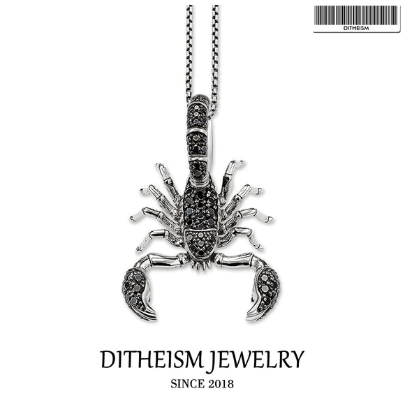 Link Chain Necklace Scorpion Black CZ Pave, 2018 Fashion 925 Sterling Silver Jewelry Vintage Gift For Men Women Boy Girls