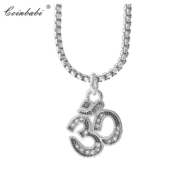 Link Chain Pendant Necklace Yoga AUM OM Gift For Men Women, Thomas Style 925 Sterling Silver Fashion Trendy Skeleton Jewelry