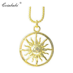 Link Chain Pendant Necklace Gold Color Sun Gift For Men Women, Thomas Style 925 Sterling Silver Fashion Trendy Classic Jewelry