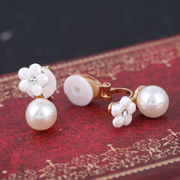 imitation shell flower clips on earrings jewelry pearls no pierced ears for women