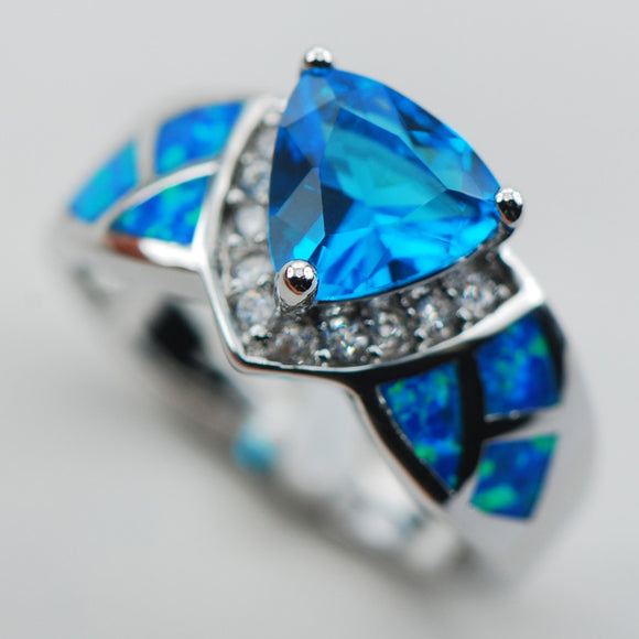 Blue Crystal Zircon Blue Opal 925 Sterling Silver Ring Size 6 7 8 9 10 R1323