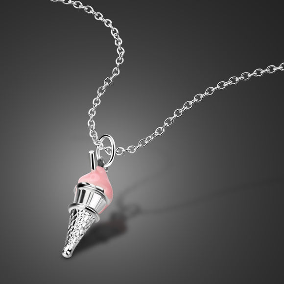 Female 925 sterling silver necklace cute ice cream pendant design solid silver clavicle chain girls charm jewelry birthday gift
