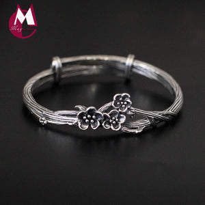 Vintage Tree Flower Bracelet Handmade Plum Blossom Fine Jewelry 100% Real 925 Sterling Silver Bracelets Bangles For Women SB04
