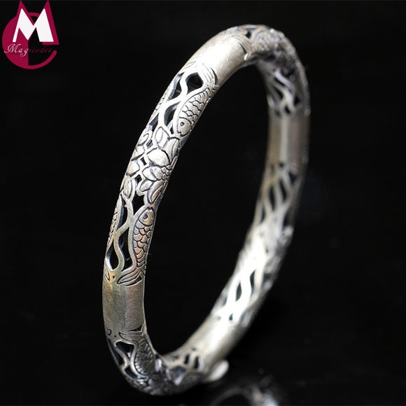Ethnic Hollow Women Bracelets & Bangles 100% 990 Sterling Silver Bracelets For Women Vintage Flower Fish Indian Jewelry SB23