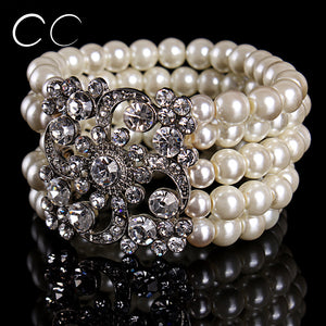 Multi layers charms pearl bracelet bangles for women wedding party austrian crystal fashion jewelry for brides gift bijoux E007