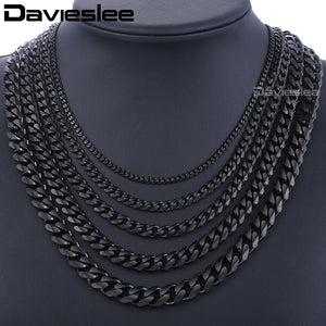 Stainless Steel Chains Necklace for Men Black Silver Gold Mens Necklace Curb Cuban Davieslee Jewelry Gifts 3/5/7/9/11mm DLKNM09