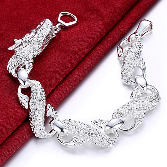 New Arrival 925 Sterling Silver Bracelet Bangle Cuff Men And Women Dragon Bracelet 925 Silver Fine Jewelry Party Gift