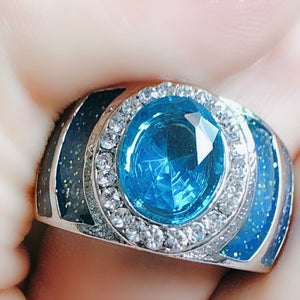 Luxury oval 100% 925 Sterling Silver ring 1ct 5A zircon blue Stone cz Engagement Wedding Band Ring for women men Jewelry