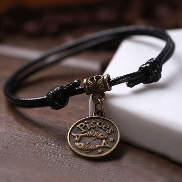 12 Constellation Anklet Ankle Bracelet Black Rope Barefoot Sandal Beach Foot Chain Personality Jewelry For Men Women Gift 1 Pcs
