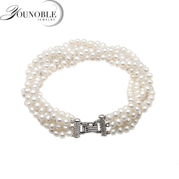 Beautiful Real freshwater pearl bracelet women,multi layer strand bracelets female birthday gift