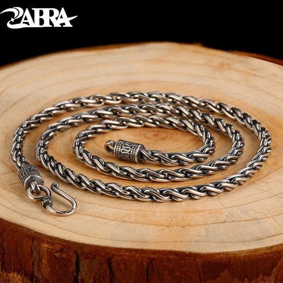 ZABRA Vintage Real 925 Sterling Silver Twist Necklace Men Width 4mm Long 55cm Chain Punk Retro Style Biker Jewelry For Mens