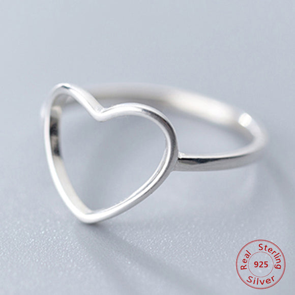 New Classic Genuine 925 Sterling Silver Hollow Heart Ring Love Wedding Bands Ring for Women Girl Fashion Jewelry Gift Party Ring