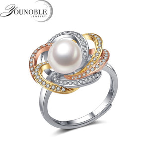 Real 925 silver ring women,exquisite natural freshwater round pearl ring birthday gift