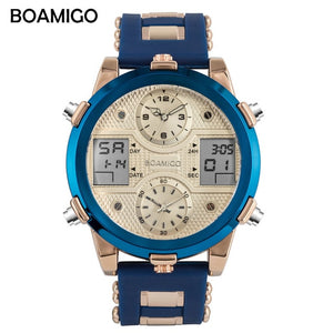 BOAMIGO Mens Watches Top Luxury Brand Men Sports Watches Men's Quartz LED Digital 3 Clock Male Gold Blue Military Wrist Watch