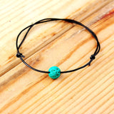 Bohemian fashion color volcanic stone anklet marine wind leather rope adjustable anklet bracelet women man jewelry