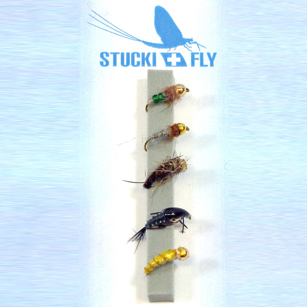 Stucki Fly Set Gold Kopf Nymphen, 5er-Set o.W.