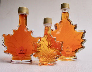 Maple Syrup in Maple Leaf Bottles