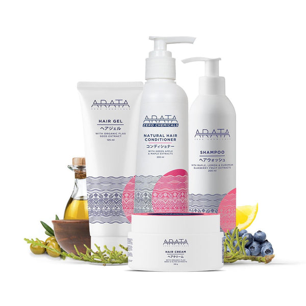 Arata Hair Care Set (Shampoo, Conditioner, Hair Cream & Gel)
