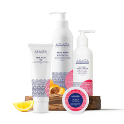 Arata Skin Care Set (Face Wash, Body Wash, Body Lotion & Lip Balm)