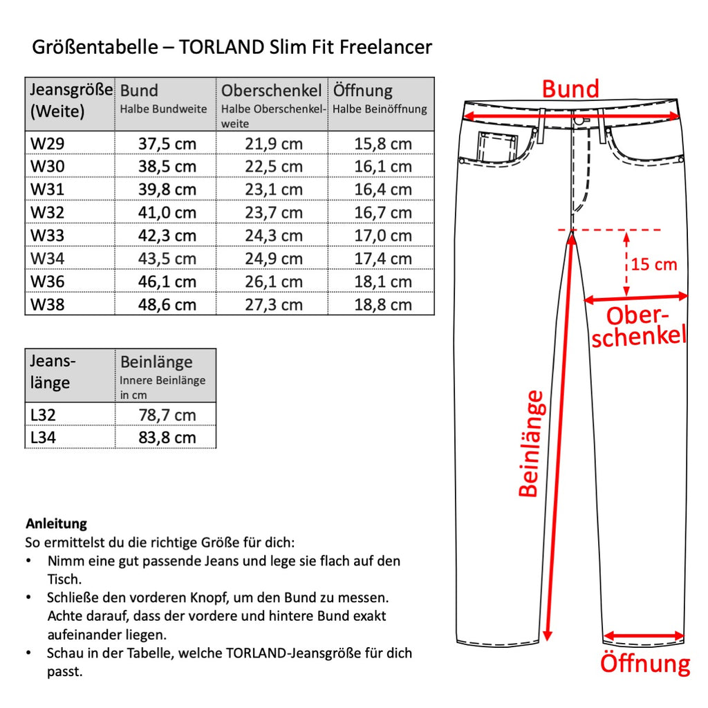 Grössentabelle Torland Slim Fit Freelancer
