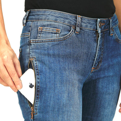 Straight Fit – mittelblaue Damen-Jeans