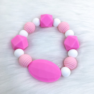 Baby Pink Chunky Teether Bracelet 7.25in