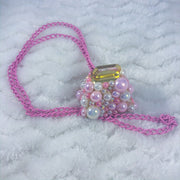 Pink and Gold Deco Cow Bell Chain Collar/Necklace